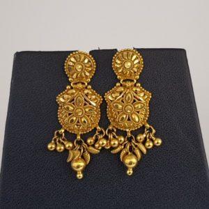Gold Earrings (7.030 Grams), 22Kt Plain Yellow Gold Jewellery – Ear Tops