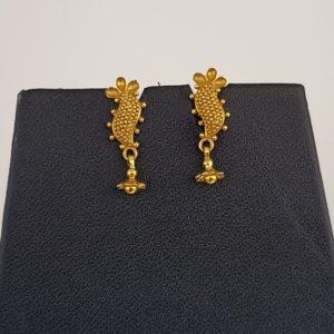 Gold Earrings (3.620 Grams), 22Kt Plain Yellow Gold Jewellery – Ear Studs