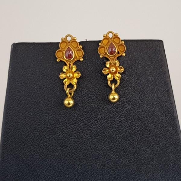 Gold Earrings (2.930 Grams), 22Kt Plain Yellow Gold Jewellery – Ear Tops