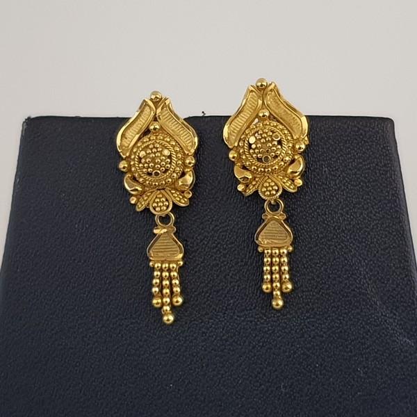 Gold Earrings (4.320 Grams), 22Kt Plain Yellow Gold Jewellery – Ear Tops
