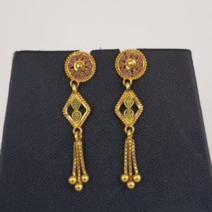 Gold Earrings (3.270 Grams), 22Kt Plain Yellow Gold Jewellery – Ear Tops