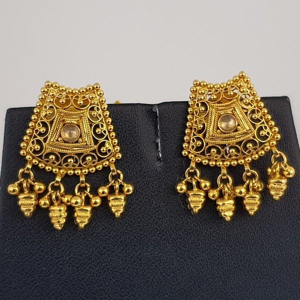 Gold Earrings (6.840 Grams), 22Kt Plain Yellow Gold Jewellery – Ear Studs