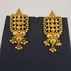 Gold Earrings (5.860 Grams), 22Kt Plain Yellow Gold Jewellery – Ear Studs