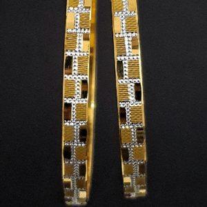 Gold Bangles (26.620 Gms) set of 2 in 22K Yellow Gold & rhodium Finish