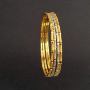 Gold Bangles (36.430 Gms) set of 4 in 22K Yellow Gold & White rhodium finish
