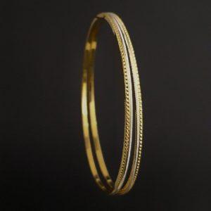 Gold Bangles (18.390 Gms) set of 2 in 22K Yellow Gold & rhodium Polish