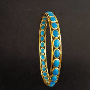 18K Yellow Gold bangles (12.910 Gms) set with Turquoise for Women