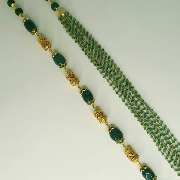Emerald Bead Necklace (30.930 Gms) set in 22K Yellow Gold